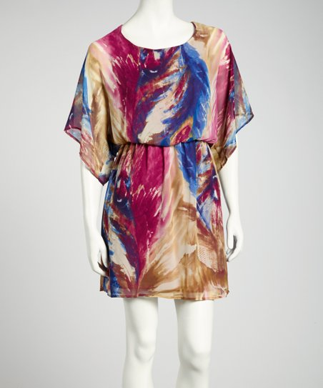 Magenta & Purple Brushstroke Cape-Sleeve Dress