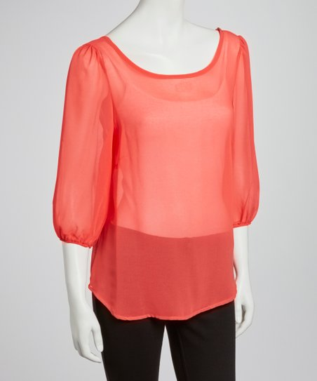 Coral Sheer Three-Quarter Sleeve Top