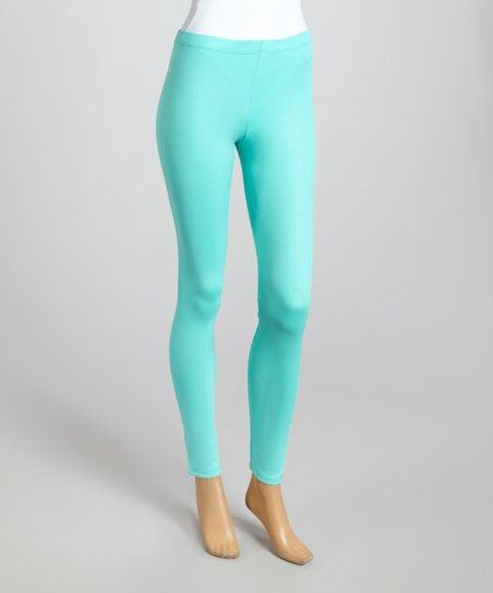 Mint Chevron-Embossed Leggings