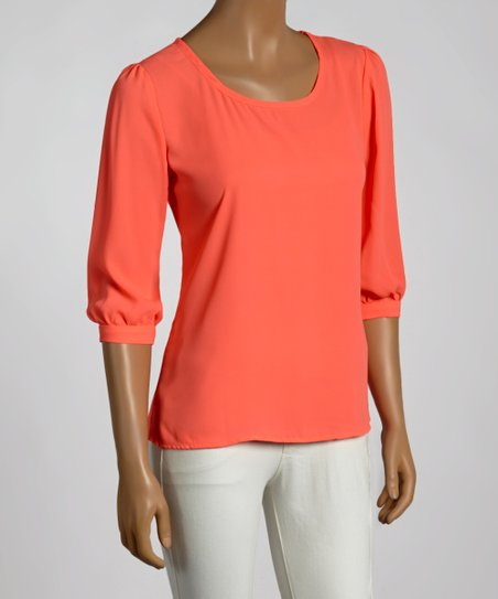 Neon Coral Scoop Neck Top