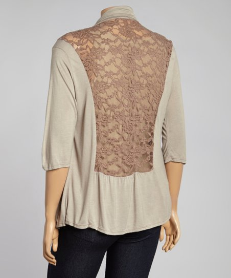 Brown Sheer Lace-Back Open Cardigan - Plus