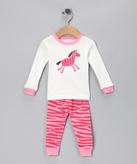 Leveret Pink Zebra Pajama Set - Infant