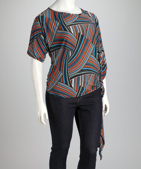 Orange & Blue Batik Side-Tie Plus-Size Top