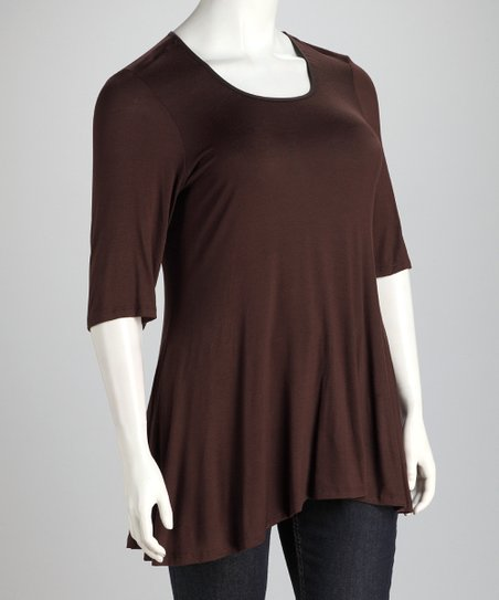 Brown Plus-Size Hi-Low Top