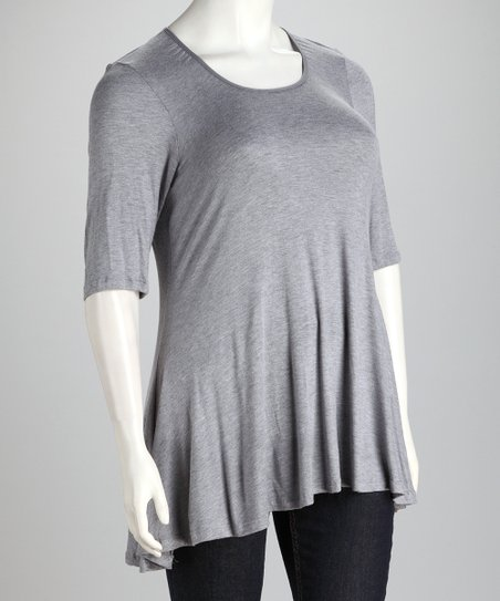 Heather Gray Plus-Size Hi-Low Top
