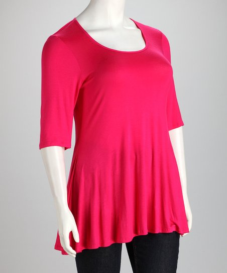 Hot Pink Plus-Size Hi-Low Top