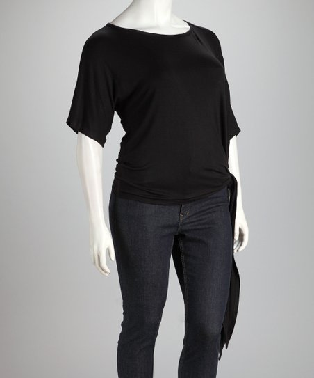 Black Side-Tie Plus-Size Top