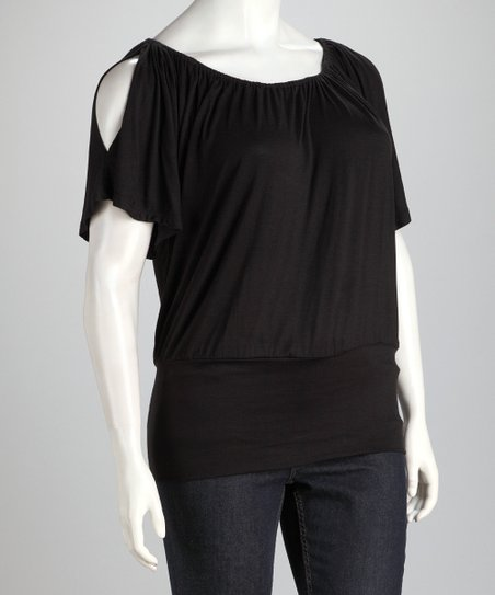 Black Banded Plus-Size Cutout Top