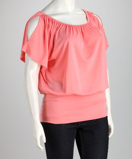 Coral Plus-Size Cutout Top