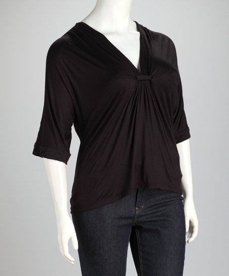 Black Gathered Plus-Size V-Neck Top