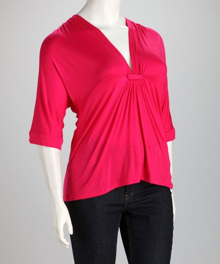 Hot Pink Frill Plus-Size V-Neck Top