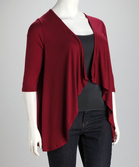 Wine Plus-Size Open Cardigan
