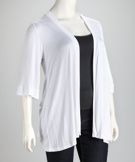 White Long Plus-Size Open Cardigan