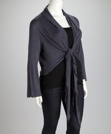 Charcoal Front-Tie Plus-Size Cardigan