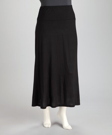 Black Plus-Size Maxi Skirt