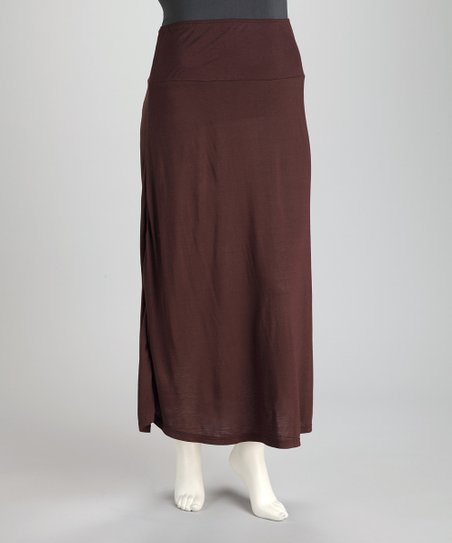 Brown Plus-Size Maxi Skirt