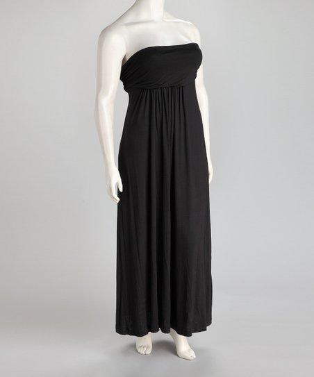 Black Plus-Size Strapless Maxi Dress