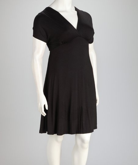 Black Plus-Size V-Neck Dress