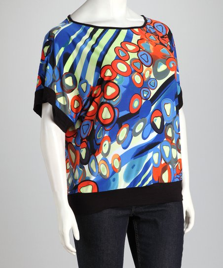 Blue & Red Plus-Size Dolman Top