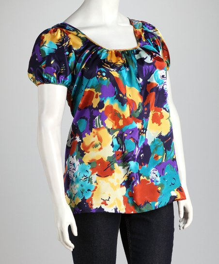 Blue & Yellow Plus-Size Puff-Sleeve Top