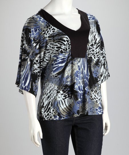 Zebra Plus-Size V-Neck Top