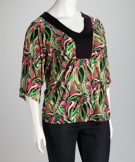 Pink & Green Plus-Size V-Neck Top