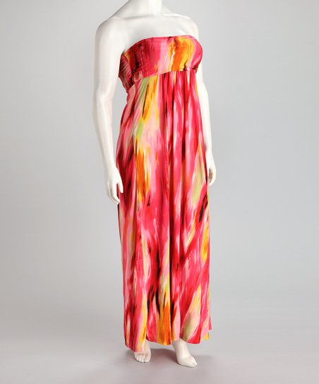 Pink &amp; Yellow Strapless Plus-Size Maxi Dress