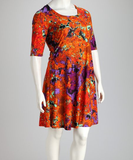 Orange &amp; Purple Plus-Size Dress