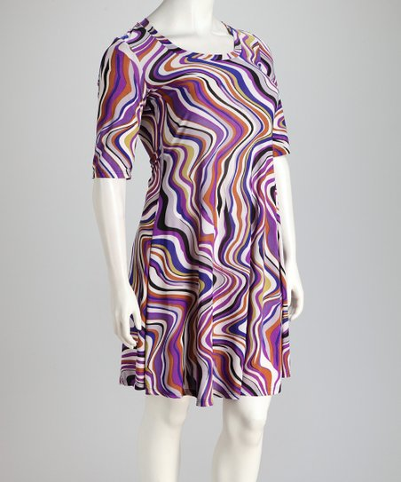 Blue & Purple Plus-Size Dress