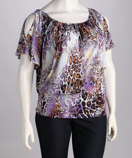 Purple Leopard Banded Cutout Top - Plus