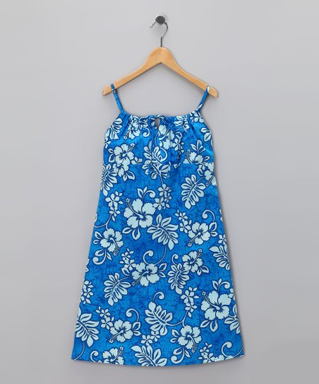 Blue Hibiscus Bow Dress - Girls