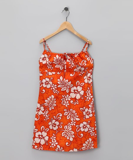 Orange Hibiscus Bow Dress - Girls