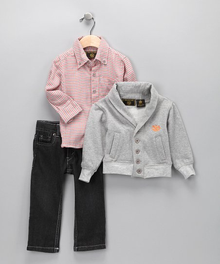 Gray & Orange Jeans Set - Infant & Toddler