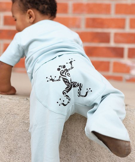 Light Blue Funky Frog Pants - Infant
