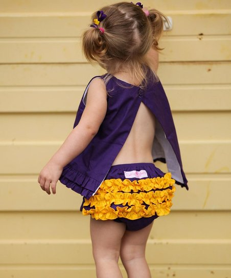 Grape & Yellow Ruffle Diaper Cover - Infant & Toddler