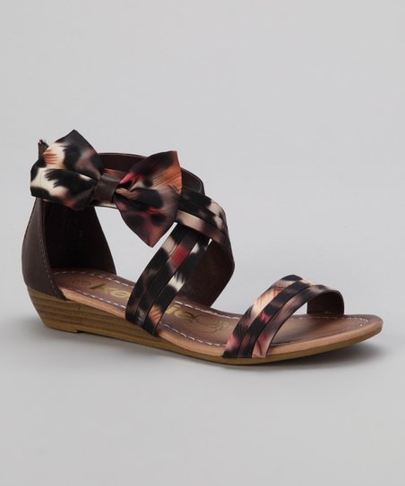 Brown Leopard Crisscross Bow Sandal