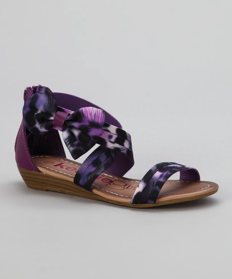Purple Leopard Crisscross Bow Sandal