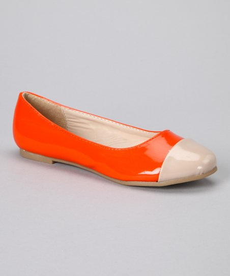 Orange Patent Cap-Toe Ballet Flat
