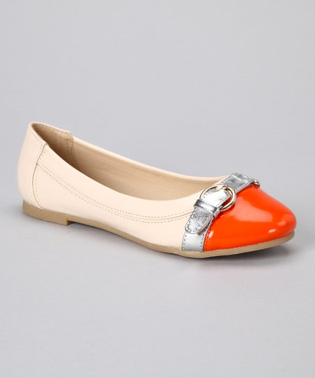 Beige & Orange Patent Buckle Ballet Flat