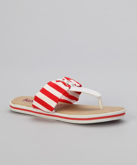White & Red Stripe Patent Flip-Flop