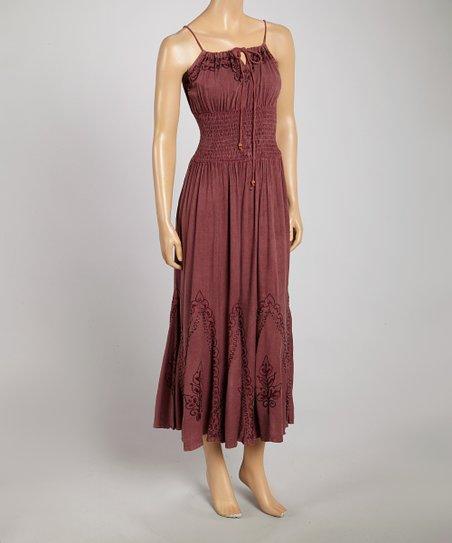 Pink Bead Smocked Maxi Dress