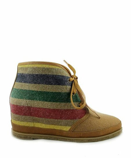 Caramel Stripe Wool Eliotte Hidden Wedge