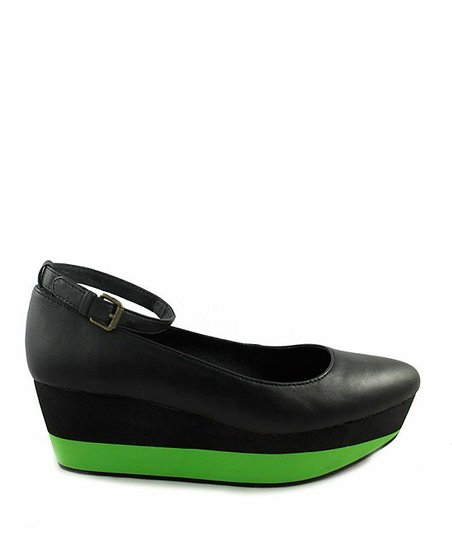 Black &amp; Green Mag Platform Shoe