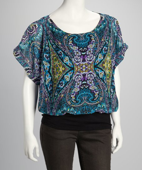 Purple & Blue Elegance Banded Top