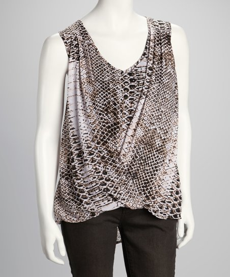 Ivory & Black Snakeskin Sleeveless Hi-Low Top