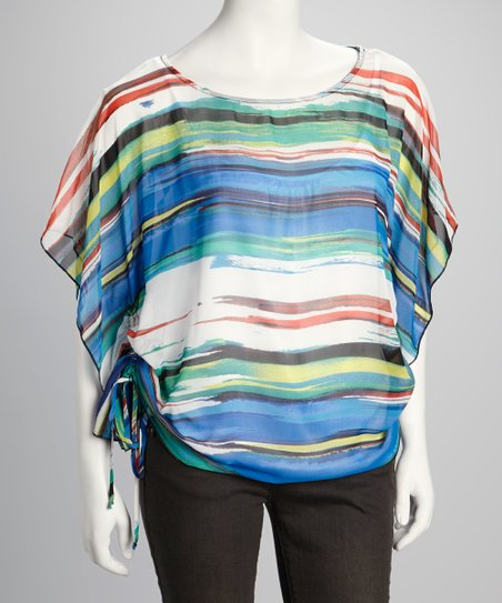 Royal Blue & Green Stripe Cape-Sleeve Top