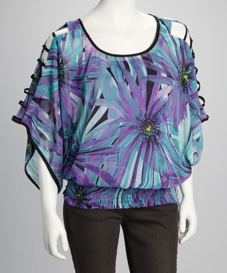 Purple & Jade Floral Shirred Cutout Top