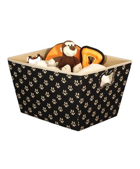 Black & Tan Paw Storage Basket