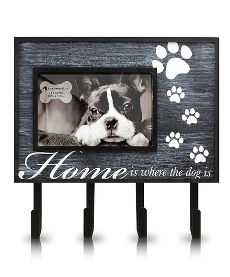 Black 'Home is Where the Dog Is' Key Rack Photo Frame