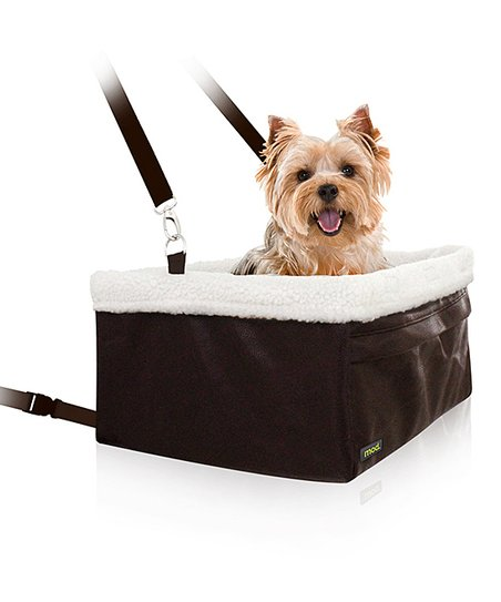 Brown Leather & Shearling Pet Car Booster Seat